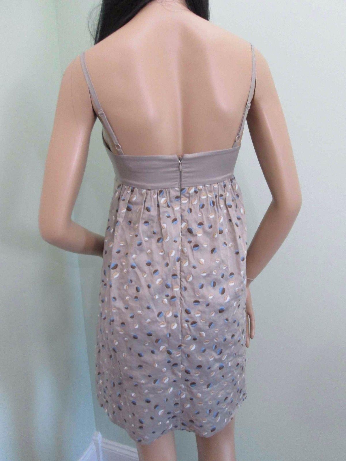 BCBG MAXAZRIA textured cotton woven babydoll tan dress $240 size 4 NEW