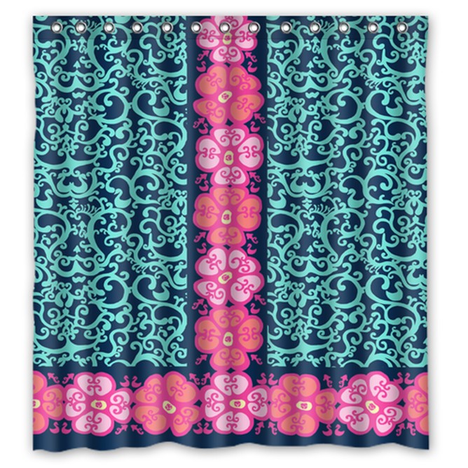 Floral Pattern Style 001 Shower Curtain Waterproof Made From Polyester