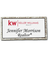 KELLER WILLIAMS REALTY BLING CRYSTAL PERSONALIZED NAME BADGE W/ PIN FAST... - $25.69