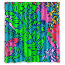 Floral Pattern Style 004 Shower Curtain Waterproof Made From Polyester - $29.07+