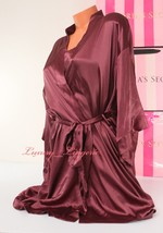 VS VICTORIA'S SECRET Satin Silky Kimono Robe Ties w Belt, 2 Pocket Purpl... - $54.99