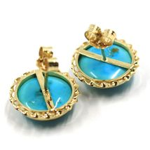 18K YELLOW GOLD EARRINGS, CABOCHON ROUND TURQUOISE SPIRAL FRAME, MADE IN ITALY image 3