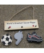 1200E-Worlds Greatest Soccer Player Wood Sign  - $1.95
