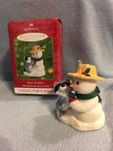 2001 Hallmark Keepsake Ornament Snow Buddies #4 in Series Snowman Raccoo... - $14.84