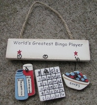 1500N-Worlds Greatest Bingo Player Wood Sign  - $1.95