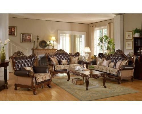 Meridian 601 Brown Leather & Rich Cherry Finish Living Room Sofa Set 2pc.