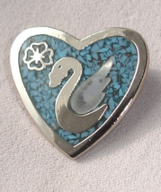 Heart Pin Brooch w Inlaid Turquoise, Swan, Clover, Shamrock - $45.00