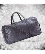 "21"" Black Leather Duffle Tote Travel Gym Bag Carry On Luggage Satchel Ov... - $20.99"