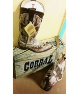 Corral Boot A2938 Cowgirl Leather Bone Brown Ostrich leather inlay - $245.00