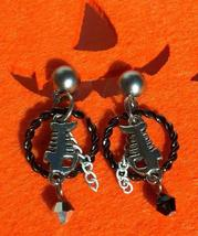 Fish Bones and Black Twist Hoop Earrings with Crystals Hand Made In USA - $18.00