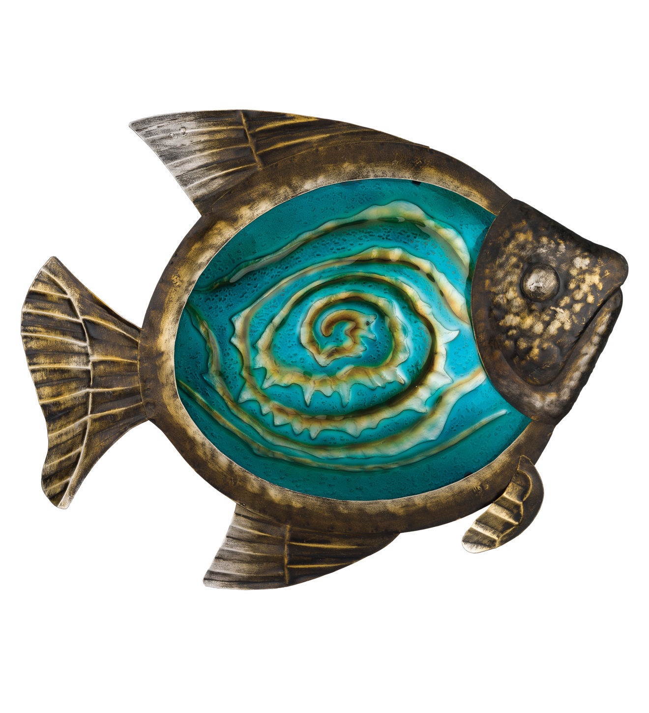 Bronze fish wall art glass metal coastal nautical beach for Bronze wall art