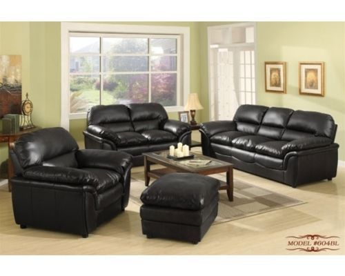 Meridian 604 Black Bonded Leather Living Room Sofa Set 3pc. Modern Style
