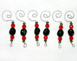 Handcrafted Christmas Ornament Hangers in Red and Green - $9.98
