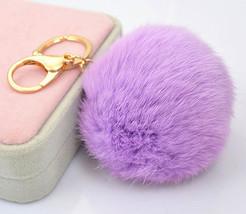 Genuine Rabbit fur pom pom ball plush keychain ... - $15.99