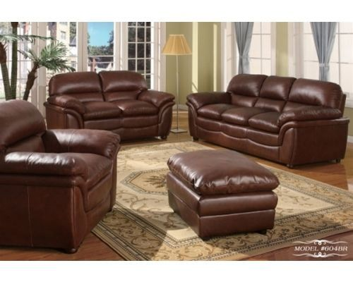 Meridian 604 Brown Bonded Leather Living Room Sofa Set 3pc. Contemporary Modern