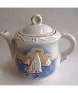 Tea Pot Coffee Vintage Porcelier China 3 Raised Sailboats 1940s - $34.65
