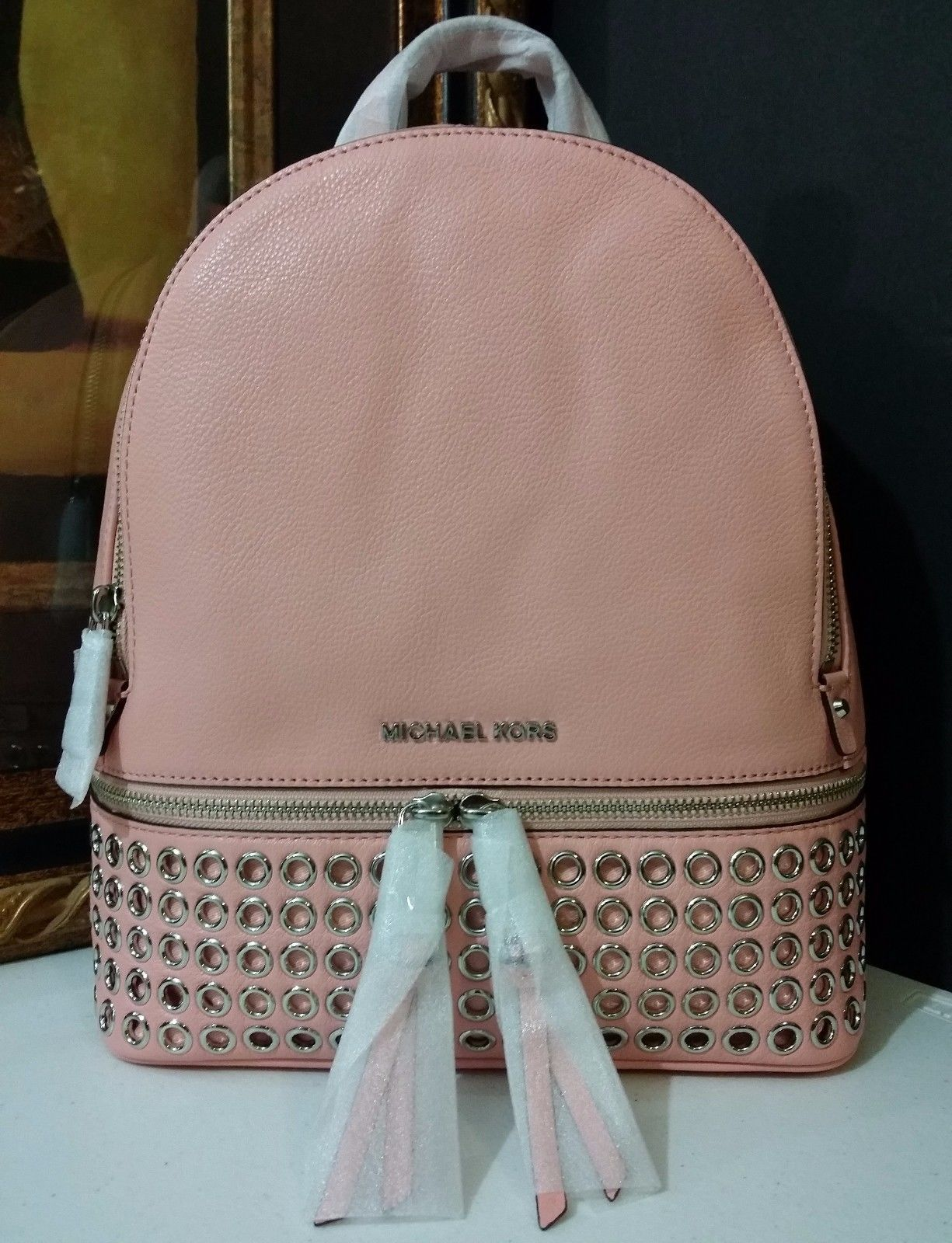 NWT Michael Kors Rhea Zip Medium Grommet Backpack Leather Pale Pink MSRP $378