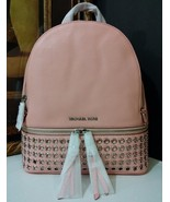 NWT Michael Kors Rhea Zip Medium Grommet Backpack Leather Pale Pink MSRP... - $284.99