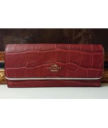 NWT COACH Embossed Croco Soft Wallet Leather LI/Black Cherry MSRP $175 - $148.79