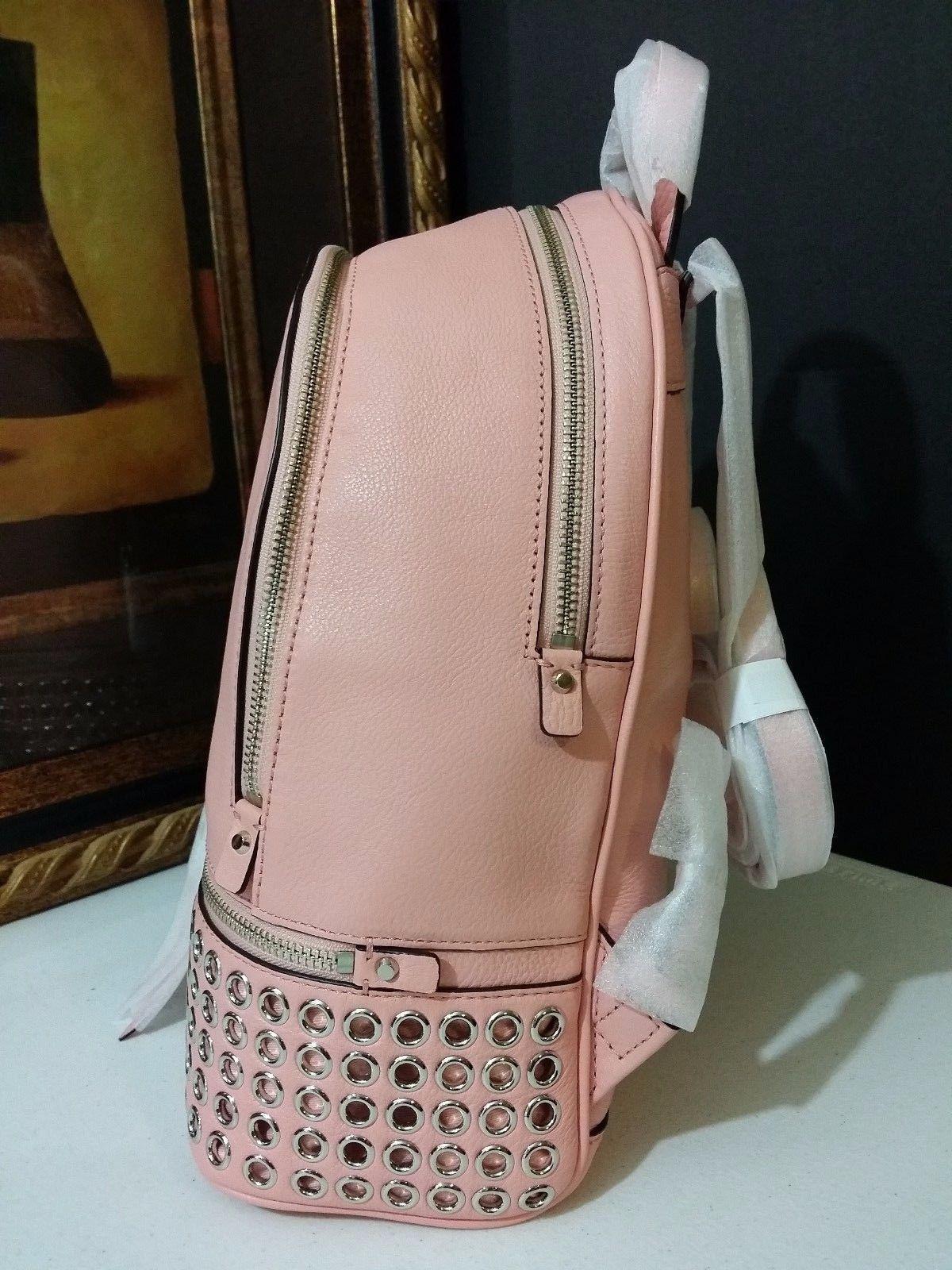 NWT Michael Kors Rhea Zip Medium Grommet Backpack Leather Pale Pink MSRP $378