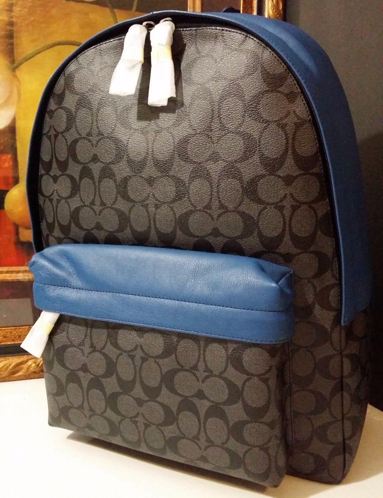 NWT COACH CAMPUS BACKPACK SIGNATURE PVC F71973 CHARCOAL/DENIM $495