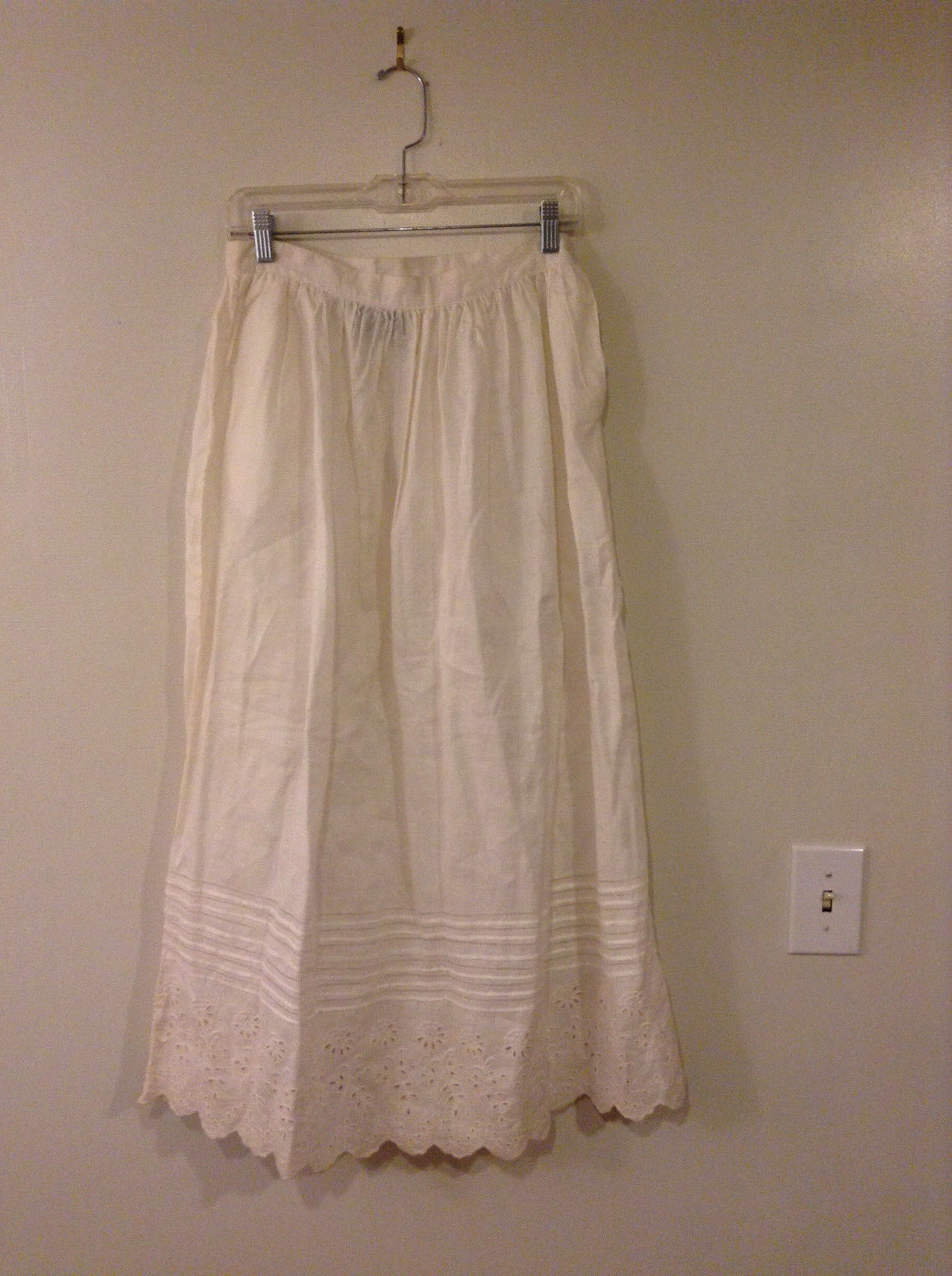 "Carole Little Women's Size 12 Maxi Skirt White Eyelet Linen ""Saint Tropez-West"""