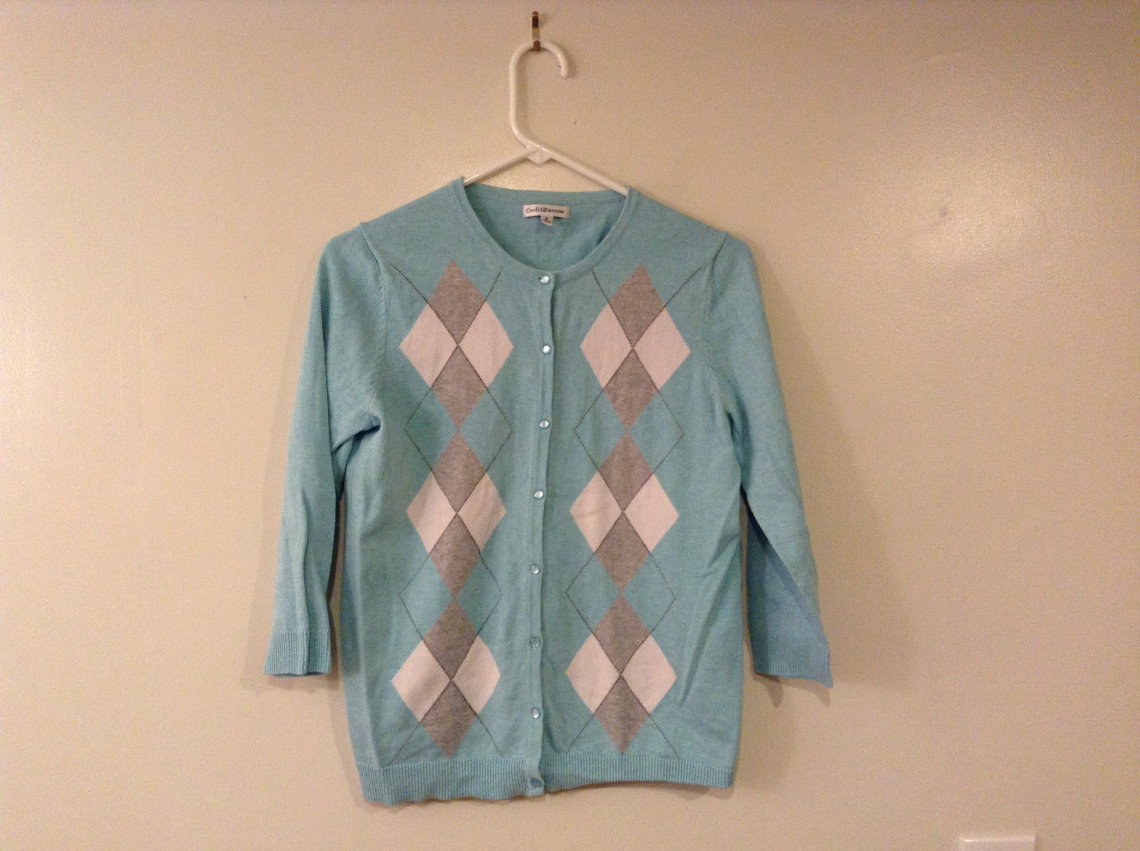 Croft & Barrow Women's Size S Light Cardigan Sweater Aqua Blue Argyle Diamond
