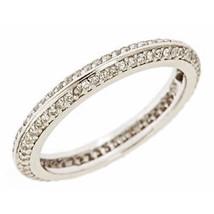 0.67ct F-VS Diamond Knife Edge Eternity Wedding Anniversary Band 14k White Gold - $890.01