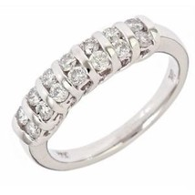 0.60ct G-SI Channel Set 2 Row Diamond Women's Wedding Band Ring 14k Whit... - €1.008,81 EUR
