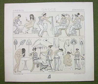 GREEK WOMEN Fashion Toilette Hairstyle- (3) Three Tinted Litho Prints by Racinet