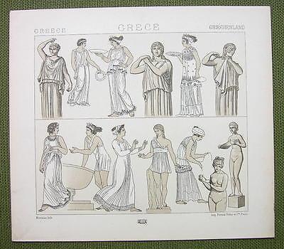 GREEK WOMEN Dressd Fashion Tunic etc - (3) Three Tinted Litho Prints by Racinet