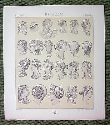 ROMAN WOMEN Dress Fashion Hairstyle - (2) Tinted Tinted Litho Prints by Racinet