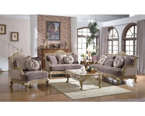 Meridian 606 Palmas Living Room Sofa Set in Gray Hand Crafted Traditional Style