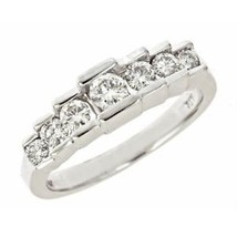 0.52ct G-SI Graduated Diamond Wedding Anniversary Band Ring 14k White Gold - €898,66 EUR