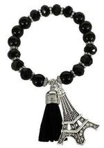 Eiffel Tower Black Glass & Stone Beaded Tassel Stretch Bracelet Jewelry Travel - $15.83