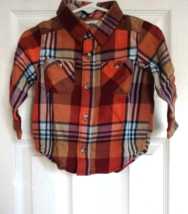 Old Navy Boys Shirts Size 12-18 Months Plaid Orange OR Mustard OR Green ... - $6.95