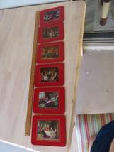 under glass trivet set kitchen hunting English Gentleman decor art nouve... - $20.00