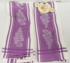 "Set of 2 Same Kitchen Jacquard Towels (18""x28"") 100% Cotton, GRAPES ON P... - $11.87"