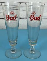 SET OF 2 Budweiser Bud King of Beers 16 oz Footed Pilsner Glass Vintage ... - $19.85