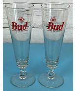 SET of 2 Budweiser Bud King of Beers 16 oz Footed Pilsner Glass Vintage ... - $19.70