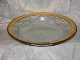 """AnnieGlass Fused 24k Gold Rimed Bowl c1985  14"""" - $99.00"""