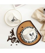 LOULONG® Nordic Style Zebra Elk Crown Trace Golden Bone China Coffee Cup... - $37.15