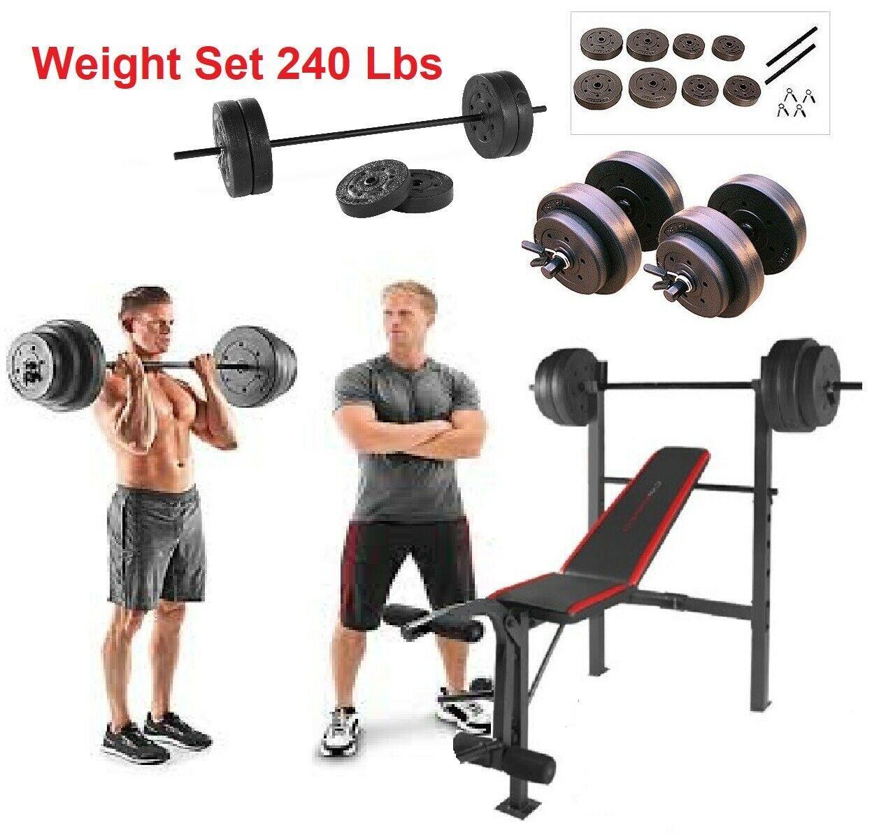 XL Mega Weight Set 240 Lbs Bench Weights Bar Press Barbell Dumbbell SuperSet Gym