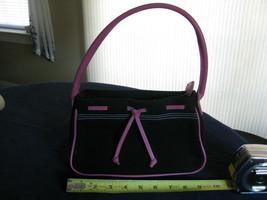 Victoria's Secret cosmetic bag w/ shoulder strap, ziptop, black & hot pink - $6.99