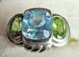Judith Ripka Blue Topaz and Green Peridot Sterling Silver Ring Size 10 G... - $99.95
