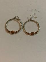 Avon Orange Gemmed Hooped Dangle Earrings - $5.89