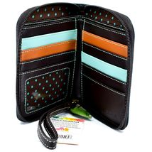 Chala Handbags Faux Leather Catcus Cacti Navy Zip Around Wristlet Wallet image 3
