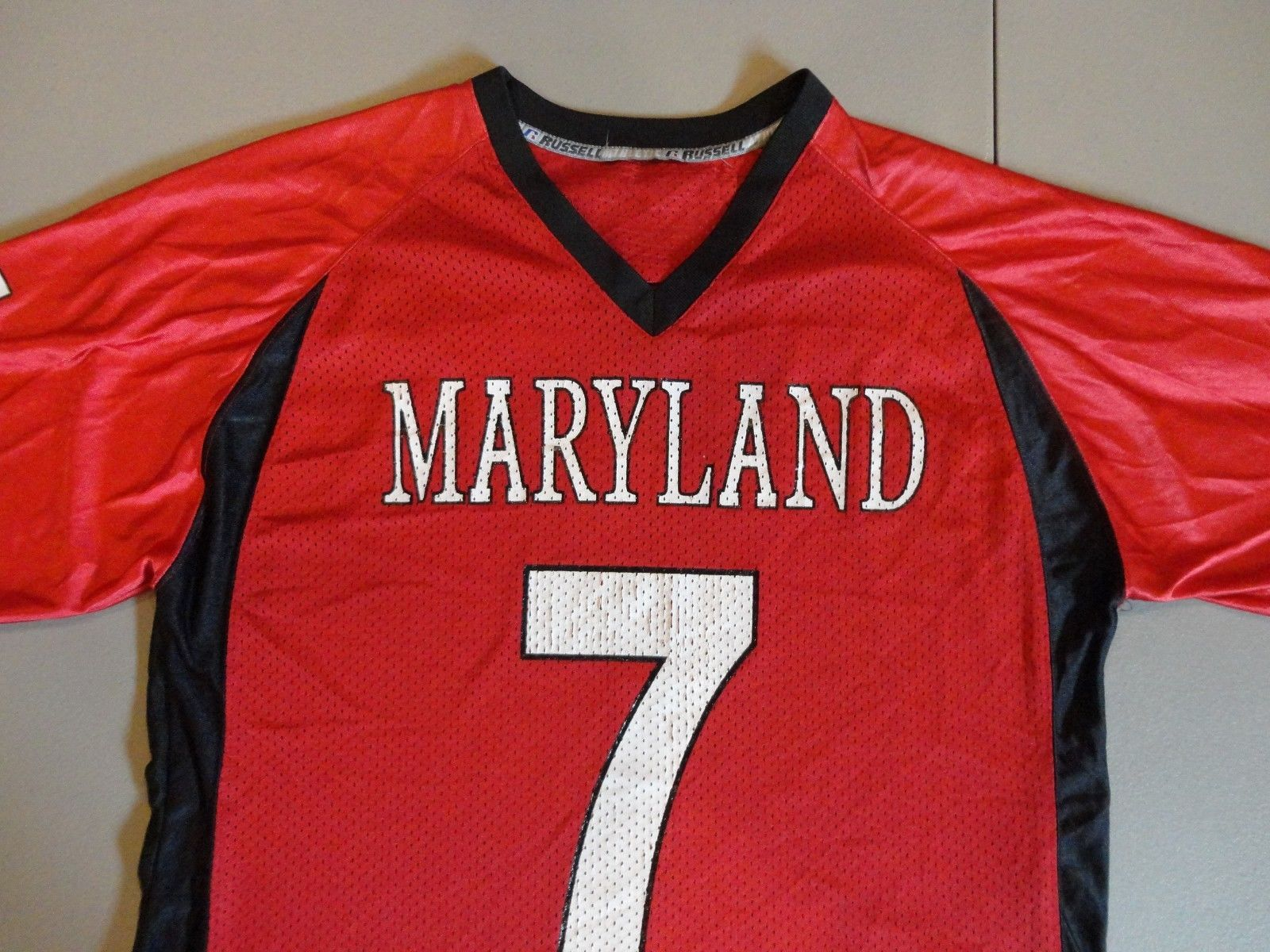 adcf13f09b5 Red #7 Russell Athletic Maryland Terrapins Football NCAA Mens L Screen  Jersey