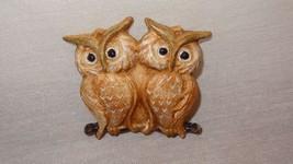 Vintage Pair Owls on Branch Pin Brooch Ceramic Beige Tan - $17.89
