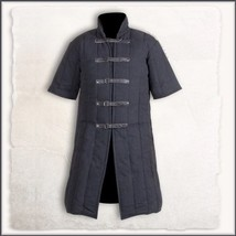 Medieval Black Turtleneck Short Sleeve Padded Canvas Gambeson Tunic Batt... - $117.95